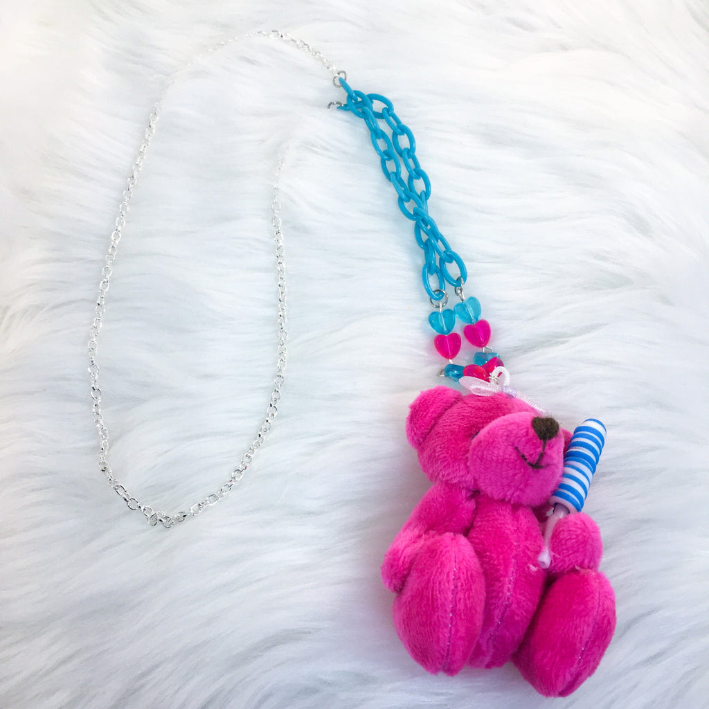 Candy Princess Teddy Bear (Hot Pink/Blue Candy) SP Necklace