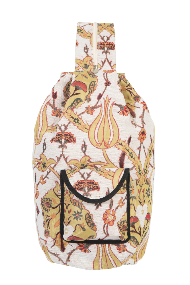 Vegan Shoulder Bag in Cream Botanical