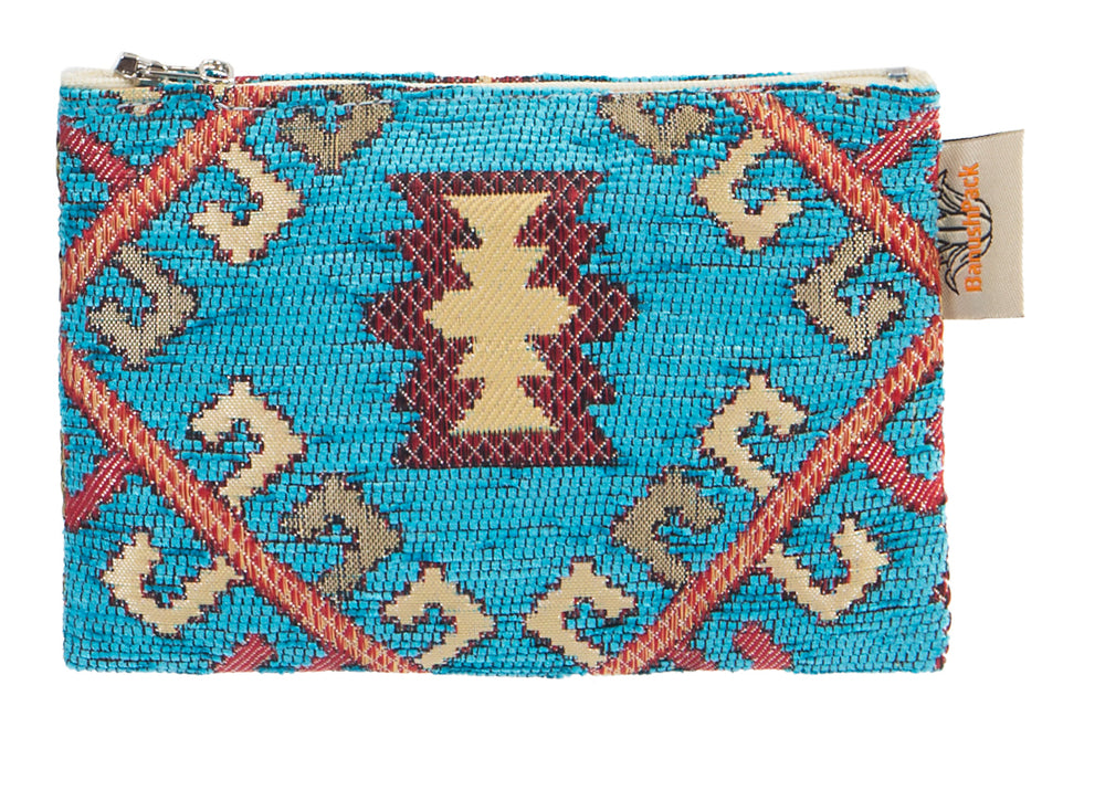 Boho Vegan Handbag in Aqua Geometric