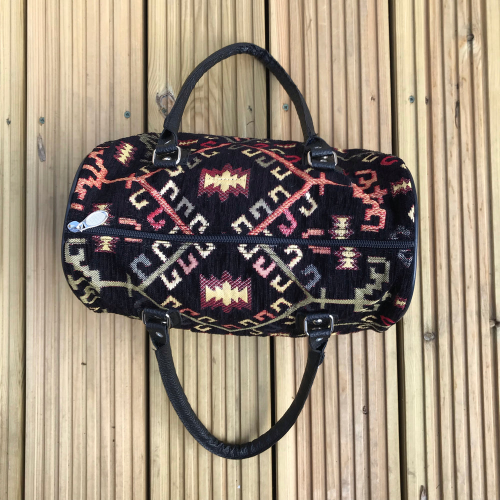 Boho Vegan Handbag in Black Geometric