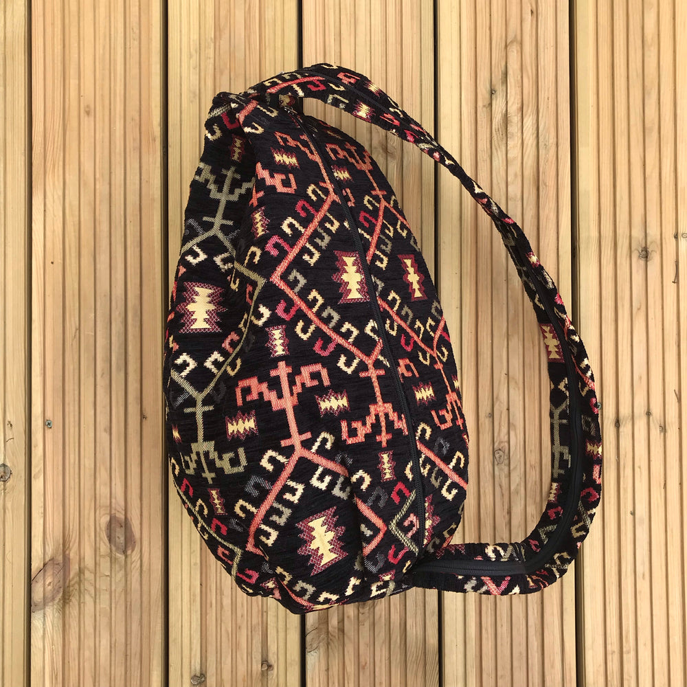 Vegan Shoulder Bag in Black Geometric