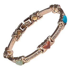Ladies Magnetic Therapy Heart Link Bracelet In Gift Box