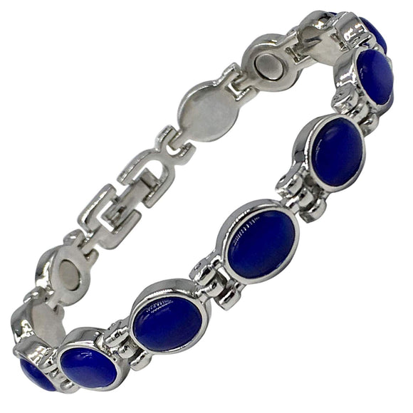 Magnetic Therapy Bracelet for Women with Blue Cats Eye Lapis Semi-Precious Stones Fits Wrists up to 17.5 cm | Great for Stress Relief, Arthritis, Pain Relief, Menopause Symptoms