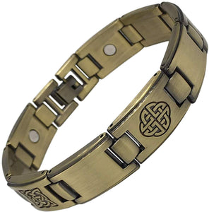 Magnetic Health Bracelet - Stainless Steel with Antique Gold Finish - Celtic Knots Design - Cool Bracelet for Men - Pain Relief of Arthritis and Carpal Tunnel Plus Gift Box - Men's Jewellery