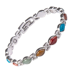 Magnetic Bracelet for Women - Multi Coloured Semi Precious Stones Set in Silver Finish Link Bracelet - Natural Pain Relief for Arthritis Migraine Menopause - Includes Gift Box