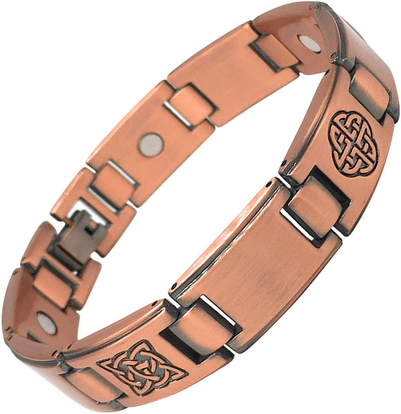 Magnetic Health Bracelet - Stainless Steel Celtic Knots Copper Finish - Cool Magnetic Bracelet for Men - Pain Relief Arthritis and Carpal Tunnel Plus Gift Box - Men's Jewellery