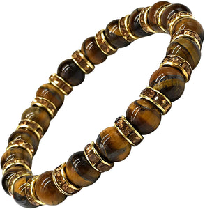 Ladies Bracelet for Women- Natural Tigers Eye & Sparkling Rhinestone Crystals - Woman's Spiritual Balance Bracelet with Jewellery Gift Box - Gemstones