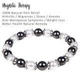 hematite magnetic therapy bracelet for women natural pain relief for arthritis joint pain carpal tunnel relief menopause symptoms hot flushes best gift for women and ladies plus gift box