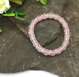 Rose Quartz Bracelet for Women - Natural Pink Quartz Stone with Rhinestone Crystals - Balancing Bangle for Women with Smaller Wrists - with Jewellery Gift Box- Gemstones