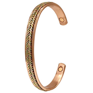 Copper Bracelets for Arthritis - Gorgeous Two Tone Plait Design - Magnetic Therapy Bracelet for Men & Women - with Gift Box