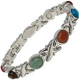 Ladies Magnetic Bracelet for Women - Multi Colour Semi-Precious Gemstones - Relieves Menopause Symptoms - Best Natural Pain Relief for Migraine Arthritis Anxiety Stress with Gift Box