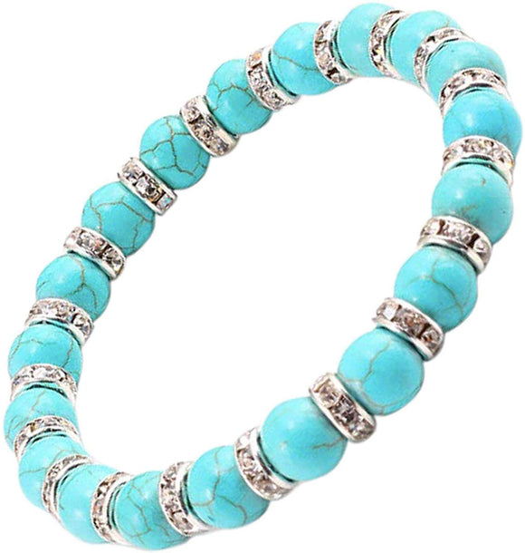 Women's Spiritual Bracelet - Natural Turquoise Howlite Stone with Rhinestone Clear Crystals - Balancing Chakra Bangle for Women - with Jewellery Gift Box - TURQUOISE