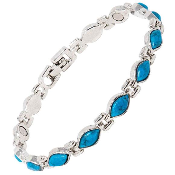 Magnetic Therapy Bracelet for Women with Turquoise Blue Semi-Precious Stones Fits Wrists up to 19 cm 7.5 inches | Great for Arthritis, Pain Relief, Menopause Symptoms - Turquoise