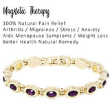 Helena Rose Ladies Pretty Magnetic Therapy Bracelet With Purple Rhinestone Crystals - Natural Pain Relief for Arthritis - Plus Jewellery Gift Box