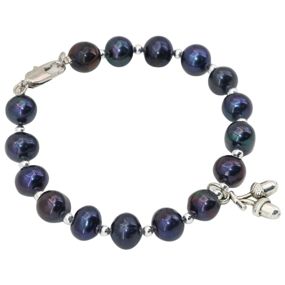 Genuine Black Pearl Bracelet. High Grade Freshwater Pearls with Silver Acorn Charm - Ladies Good Luck Charm Bracelet - Plus Gift Box