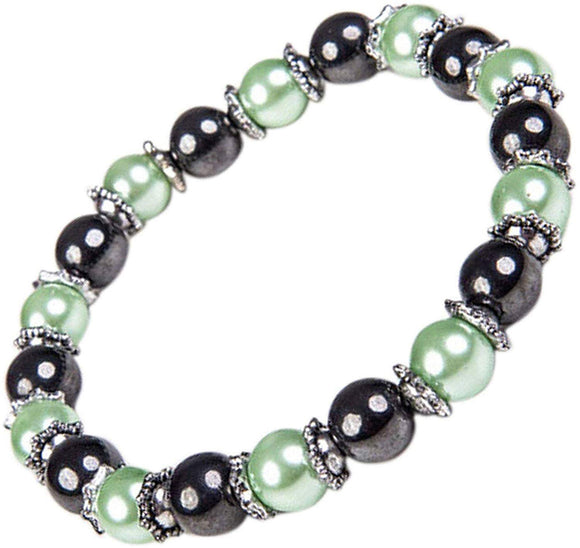 Helena Rose Gorgeous Green Pearl & Hematite Bracelet Natural Stone Ladies Jewellery for Women Benefits Arthritis Relief | Can Help Relieve Arthritic Pain Stress and Migraines - Hematite