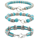 Helena Rose Turquoise Bracelet Stack - 3 Bohemian Bangles for Men or Women - Plus Jewellery Gift Box