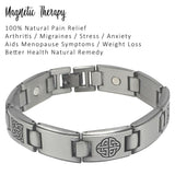 Magnetic Health Bracelet - Stainless Steel Celtic Knots Gunmetal Colour - Cool Bracelet for Men - Pain Relief of Arthritis and Carpal Tunnel Plus Gift Box - Men's Jewellery