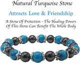 turquoise and hematite magnetic therapy bracelet for women natural pain relief for arthritis joint pain carpal tunnel relief menopause symptoms hot flushes best gift for women and ladies plus gift box