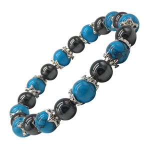 Helena Rose Natural Turquoise Stone & Hematite Magnetic Bracelet for Women | Anti Anxiety Bracelet Aids Menopause Symptoms Relieve Arthritic Pain Stress and Migraines - Plus Jewellery Gift Box - Hematite