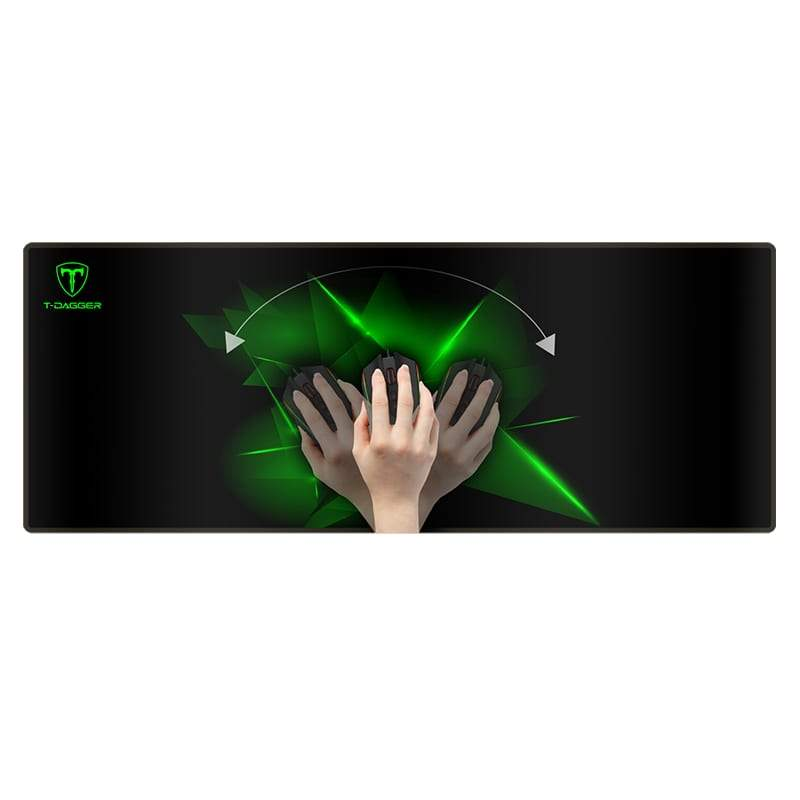 T-Dagger T-Dagger Geometry Large Size 780mm x 300mm x 3mm|Speed Design|Printed Gaming Mouse Pad Black and Green T-TMP301