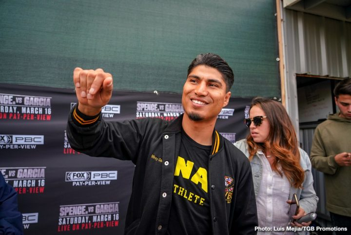 Robert Garcia not worried about Errol Spence's size for Mikey Garcia