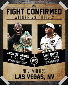 Wilder-Ortiz 2 Set For November 23rd PPV