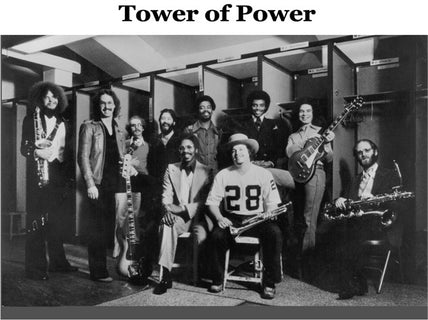 Victor Conte with Tower of Power in the locker room of the Oakland Raiders in 1978.