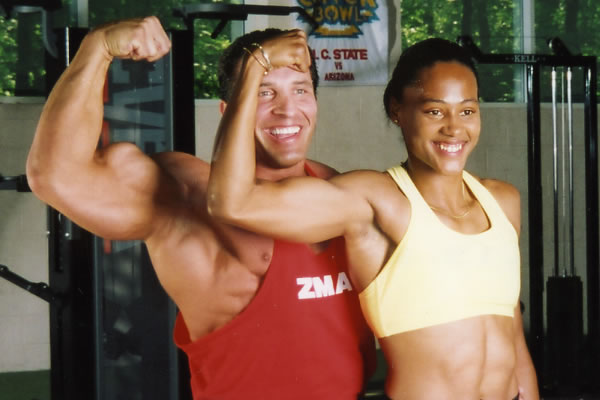 Milos Sarcev and Marion Jones