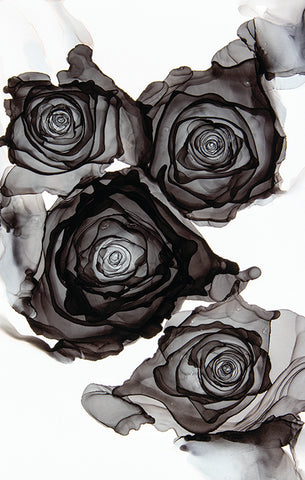 """""""My Beautiful Darkness"""" alcohol ink roses by Jamie Pomeranz Devils May Care prints black rose"""