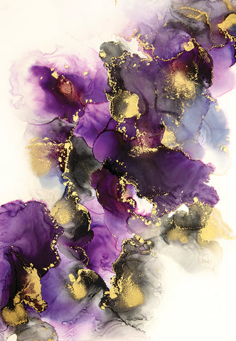 Diamonds for Breakfast Purple and gold alcohol ink painting by Jamie Pomeranz Devils May Care