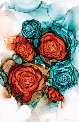 From Lust to Love alcohol ink roses by Jammie Pomeranz Devils May Care Fluid abstract art