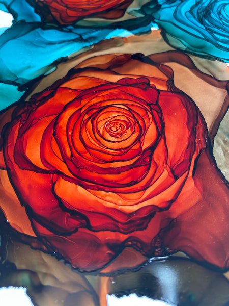 Zoom Private 2 hour Alcohol Ink Rose Course