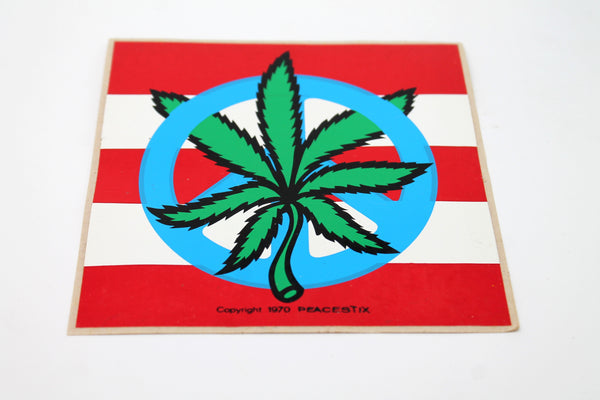 American Weed and Peace Flag Sticker
