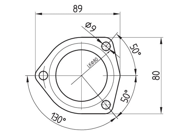 Clamping Flange Complete D38 3holes 130° Alu