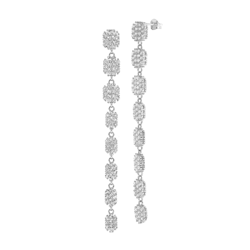 White Topaz Gemstones long Earrings