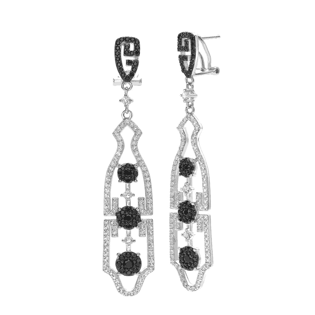 White & Black Topaz Gemstones Oriental Earrings