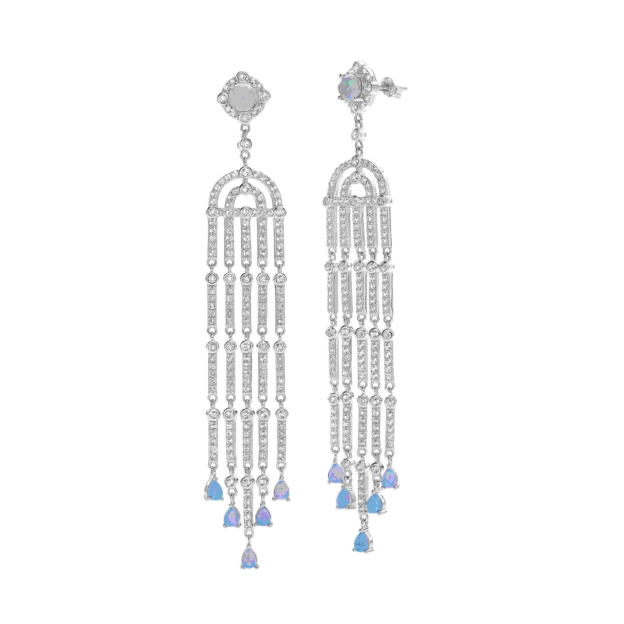 White Topaz Gemstones and Created Opal long Sterling Silver Earrings