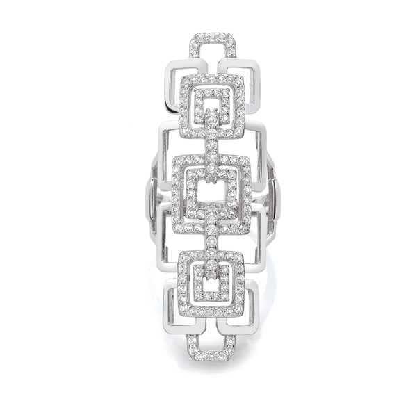 Geometrical Shiny Ring with White Topaz Gemstones