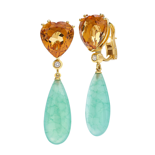 Saint Sophy by Gianni Lazzaro 18 Karat Yellow Gold Earrings with Diamonds, Citrin and Chrysoprase Gemstones