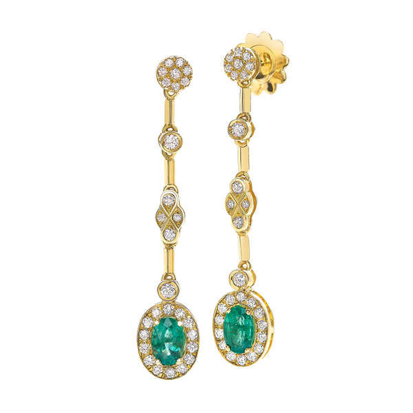 Saint Sophy by Gianni Lazzaro 18 Karat Yellow Gold Earrings with 0,91 Carat of Diamonds and Smaragd Gemstones
