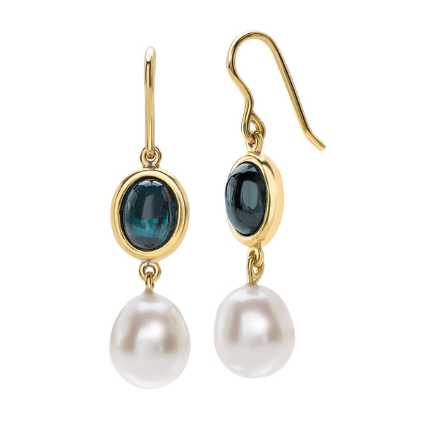 Saint Sophy by Gianni Lazzaro 18 Karat Yellow Gold Earrings with Pearls and Tourmaline Gemstones
