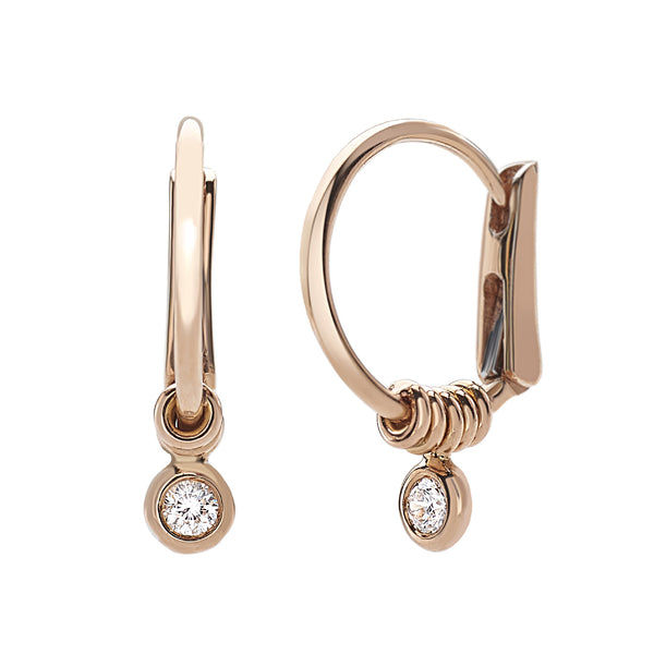Saint Sophy by Gianni Lazzaro 18 Karat Rose Gold Earrings with Diamonds