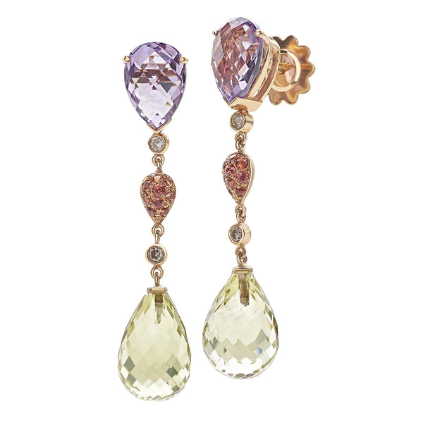 by Gianni Lazzaro 18 Karat Rose Gold Earrings with Cognac Diamonds, Lemon Citrin, Orange Sapphire and Amethyst