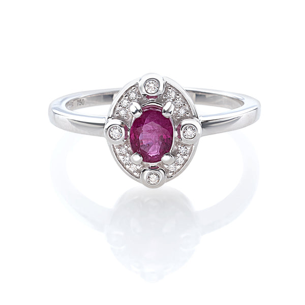 by Gianni Lazzaro 18 Karat White Gold Ring with 16 Diamonds and 1 Ruby