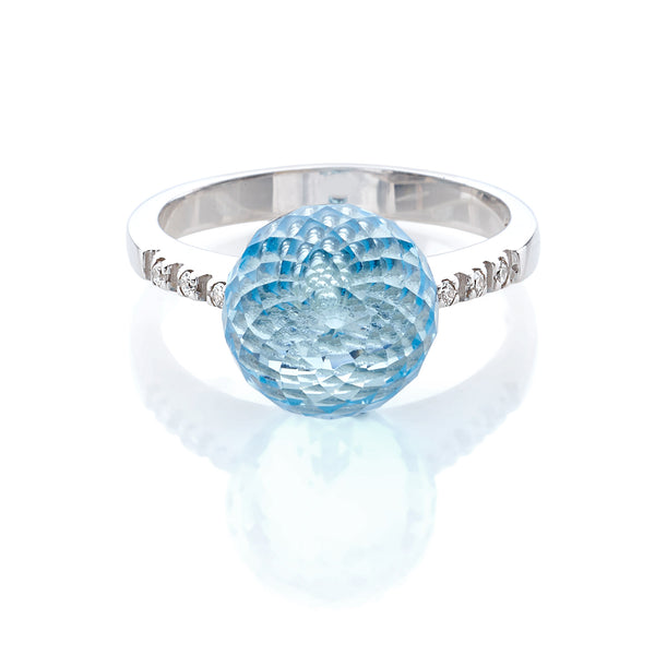 by Gianni Lazzaro 18 Karat White Gold Ring with sparkling Diamonds and a Blue Topaz Ball