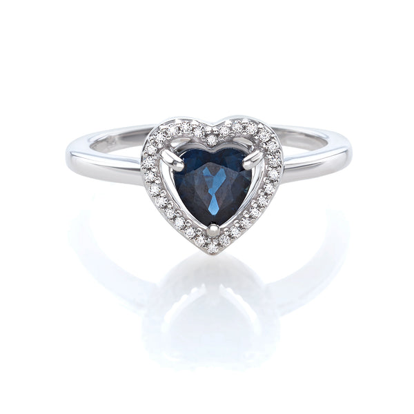 by Gianni Lazzaro 18 Karat White Gold Ring with sparkling Diamonds and a Blue Sapphire