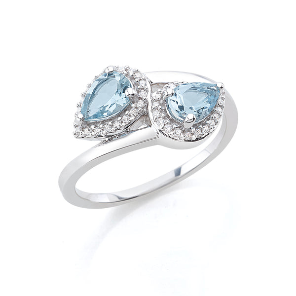 by Gianni Lazzaro 18 Karat White Gold Ring with sparkling Diamonds and two Topaz Gemstones