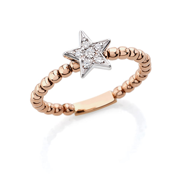 by Gianni Lazzaro 18 Karat Rose Gold Star Ring with sparkling Diamonds