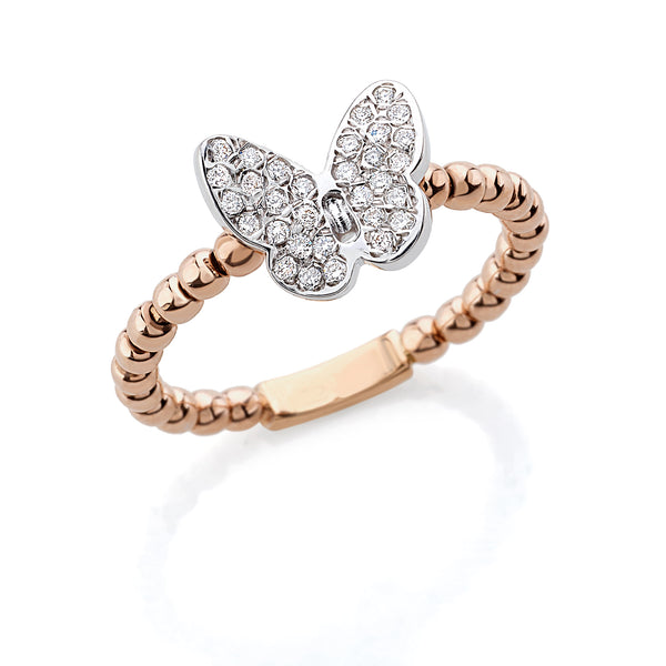 by Gianni Lazzaro 18 Karat Rose Gold Butterfly Ring with sparkling Diamonds